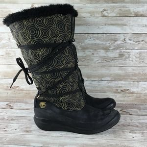 Timberland Tall Winter Boot Womens 9 Black Gold